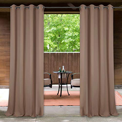 Blackout Outdoor Curtain for Patio - Durable Waterproof Grommet Thermal Insulated Drapes Prevent Sun Exposure for Screened Porch/Backyard, Mocha, 52