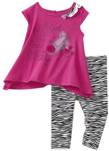 Babytogs Baby Girls' Sharkbite Hem Tee With Zebra Printed Legging