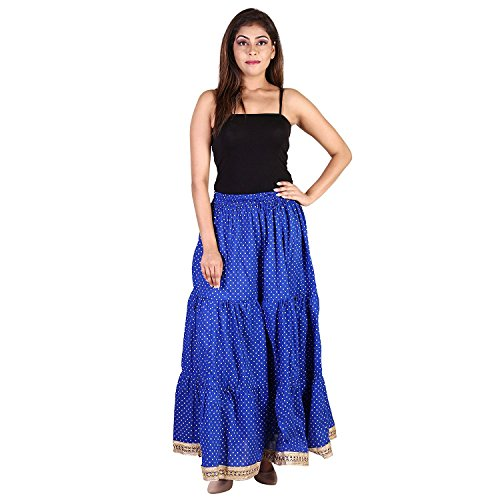 Gold Free Cottton Printed Handicrfats Skirts Tiered Indian Dot Polka for Size Blue Skirt Export Skirt Women Long t6wSwYq