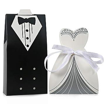 100 piezas Cajas de Regalo Boda Cajas de Caramelos Dulces Regalos Bombones para Invitados de Boda Forma de Vestido de Novia y Traje de Novio 50 Pares: ...