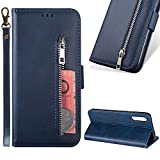 Zipper Wallet Case for Samsung Galaxy A50,Cistor Cowhide Leather Purse Flip Stand Soft Case with Card Holder Slots Wrist Strap Case Cover for Samsung Galaxy A50,Blue