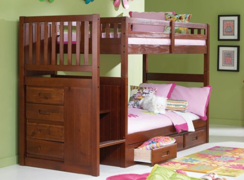 Discovery World Furniture Mission Twin Over Twin Staircase Bunk Bed with 3 Drawers, Desk, Hutch and Chair in Merlot (Mission Merlot Desk)