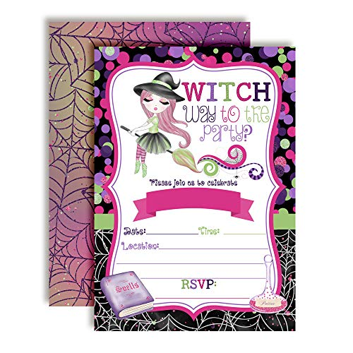 Fancy Halloween Witch Halloween Birthday Party Invitations, 20 5