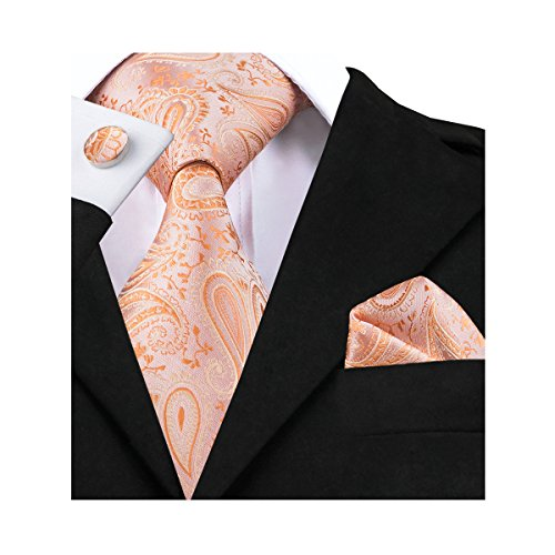 Barry.Wang Light Orange Silk Necktie Set for Men Wedding,Orange,One (Orange Paisley Tie)