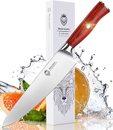 High Carbon Steel Chef Knife | Razor Sharp Kitchen Knife with Unique Ergonomic Handle | 8 Inch Professional Chef's Knife | Best Kitchen Gift for Cooking Lovers and Chefs by Iron King