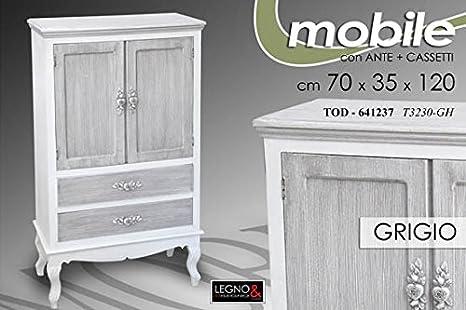 Credenza Shabby Per Bagno : Mobile credenza h legno grigio shabby chic decapè amazon