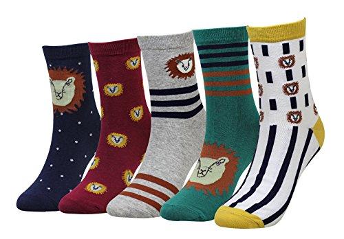 Wish Island Men's 5 Packs Fun Crazy Animal Cotton Casual Crew Socks (Lion)