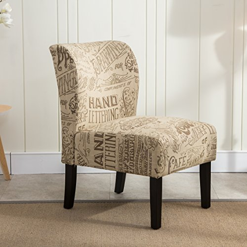 Roundhill Furniture Capa Print Fabric Armless Contemporary Accent Chair, Chalkboard (Fabric Accent)