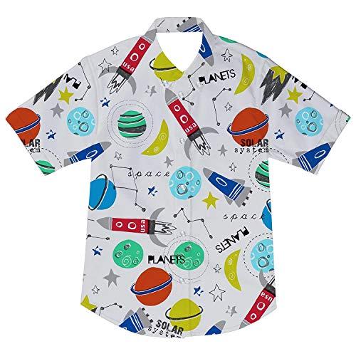 (Boy Toddler Button Down Shirt White Cartoon Short Sleeve Funny Holiday Casual Boys Dress Shirt Tee Tops 3-4T)