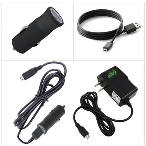 ChargerCity Exclusive 2A Wall Charger AC Adapter & 12v Car Charger Micro USB Cable Travel Kit for Micro USB HD HDX Tablets