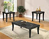 3pc Coffee Table Set Major-Q 9080366 3-Pcs Black Finish Faux Marble Top Coffee/End Table Set