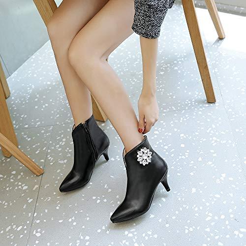 chaussures Femme Bas Lacets Talons Escarpin Strass bottes Hauts Noir En Daim À Avec vdnaSq