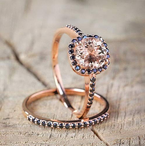 (Rhame Women 18K Rose Gold Fil Morganite Wedding Engagement Ring Set Party Sz5-10 | Model RNG - 21360 | 7)