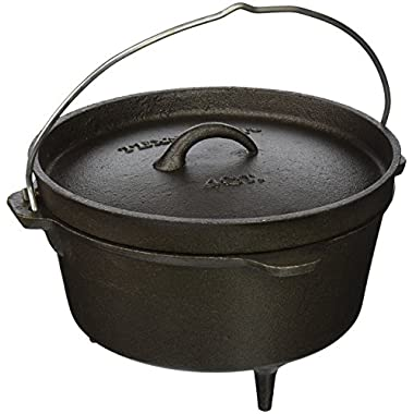 Texsport Cast Iron Dutch Oven with Legs, Lid, Dual Handles and Easy Lift Wire Handle.