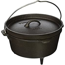 Texsport Cast Iron Dutch Oven with Legs, Lid, Dual Handles and Easy Lift Wire Handle , Black, 4 Quart