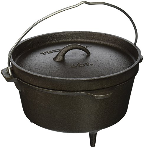 - Texsport Cast Iron Dutch Oven with Legs, Lid, Dual Handles and Easy Lift Wire Handle.