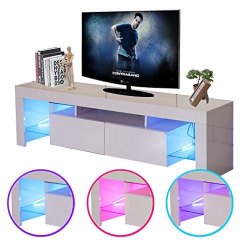 Civigrape LED TV Stand, High Gloss Modern 60'' TV Cabinet for Living Room (White, 60'') (High Modern Gloss)