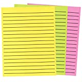 Thick Line Paper in Neon Colors 3-Pad Set- 1 Yellow - 1 Green - 1 Pink