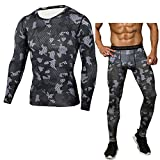 Men's 2 Pieces Sports Tracksuits Fashion Running Compression T-Shirts+Pants