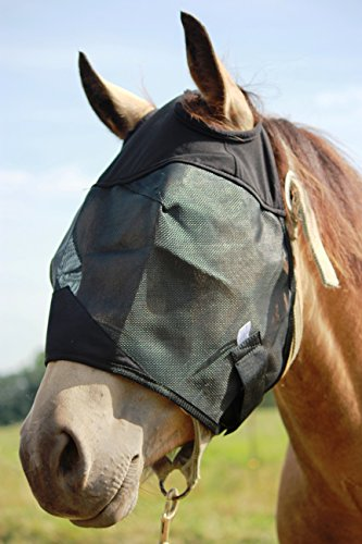 (Standard Horse Fly Mask Without Ears and Nose, All Around Barn, Stable, Pasture, Trail Riding Sun Protection Standard - Style: No Ears or Nose - Size: Yearling/Large Pony)