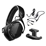 V-MODA Crossfade Wireless 2 Over-Ear Headphones Matte Black – INCLUDES– V-MODA BoomPro Microphone 200cm AND Blucoil Stick-On Under Desk Dual Headphone Stand Mount