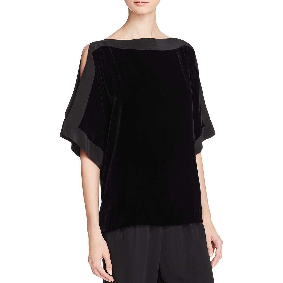 Eileen Fisher Womens Petites Silk Velvet Kimono Black PS by Eileen Fisher