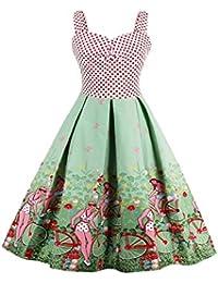 Women's Plus Size Vintage Hepburn 1950s Floral Print Sleeveless Rockabilly Swing Party Dress