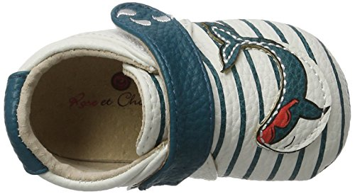 Rose & Chocolat Cool Whale - Zapatillas de casa Bebé-Niñas Blau (navy Stripes)