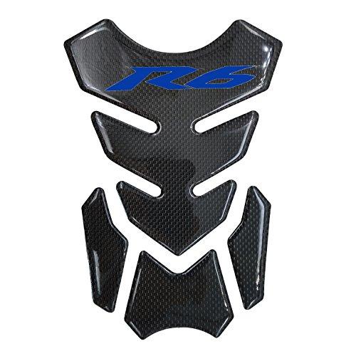 Blue Real Carbon Fiber 3D Sticker Vinyl Decal Emblem Protection Gas Tank Pad For Yamaha YZF R6