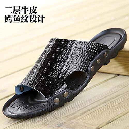 A1 noir  Shukun Tongs Hommes Sandales pour Hommes d'été Chaussures de Plage Sandales et Pantoufles Tout-Aller Mot pour Hommes Drag Anti-dérapant Sandales Hommes