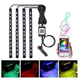 MICTUNING 4 Pcs RGB LED Underdash Lighting Kit Car Interior Strip Light Music & Timer Function Bluetooth Control for iPhone & Android