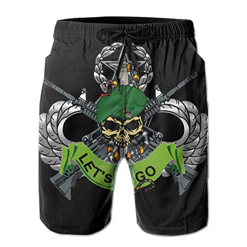 Hdecrr FFRE US Army Flash 10TH Special Forces Group Bad TOLZ Skull Logo Men's Summer Casual Beach Shorts Quick Dry Beach Shorts with Pockets White