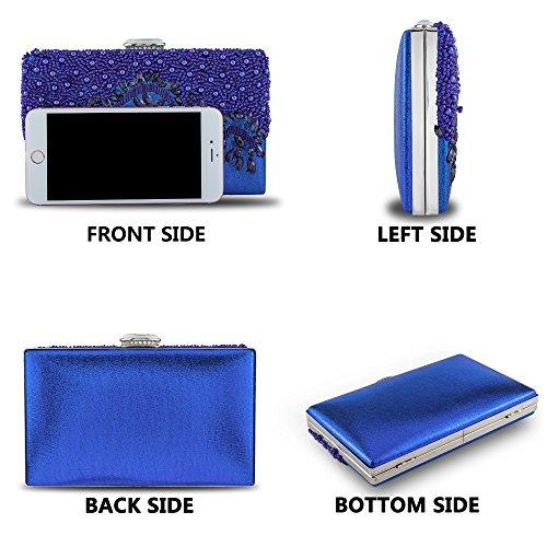 Royal Party Handbag Handmade Purse Bag Blue Clutch Rhinestones Crystal Embroidery Women's Evening Glassbeads Bagood 8aqwzx75