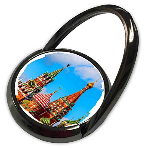 (3dRose Alexis Photography - Moscow Kremlin - Moscow Kremlin Spassky tower and St. Basils Cathedral. Round frame - Phone Ring (phr_287110_1) )