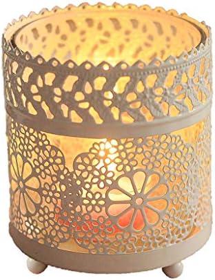 QIQIDEDIAN ローソク足ホワイトガラス錬鉄製のロマンチックなギフトバレンタインデーロマンチックな新年のアレンジメント