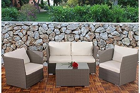 Sofa Garnitur Grau Kissen Creme Polyrattan Garten Outdoor Terrasse