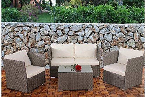 sofa garnitur grau kissen creme polyrattan garten outdoor terrasse lounge couch g nstig kaufen. Black Bedroom Furniture Sets. Home Design Ideas