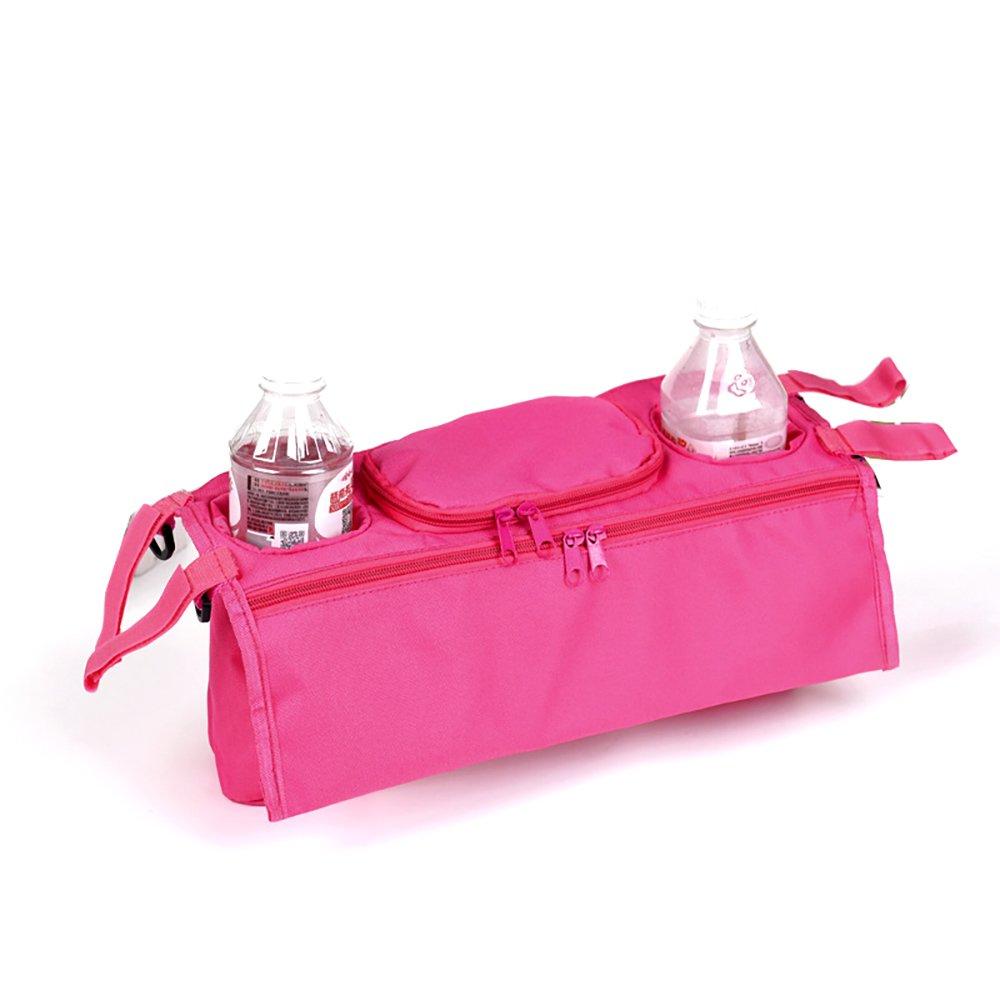 Universal Baby Stroller Pram Organizer Bag Bolsa colgante con portavasos y correa para el hombro Espacio de almacenamiento extra para organizar accesorios y ...