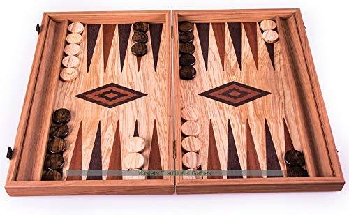 Spielzeug Manopoulos Luxury Olive Burl Backgammon Set Manopoulas