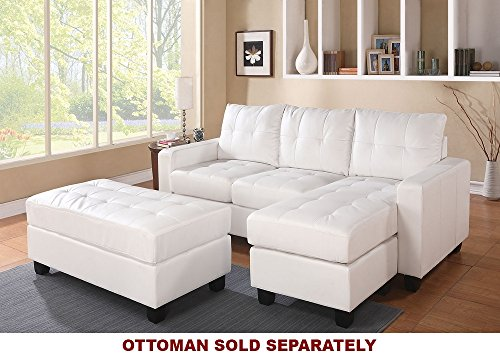 Lyssa ACME White Bonded Leather Sectional Sofa with Reversib