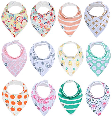 Baby Bandana Drool Bibs for Girls 12 Pack of Absorbent Cotton Baby Gift Set By Mumby