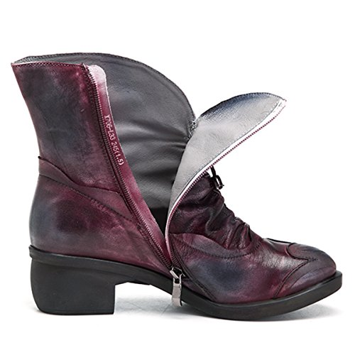 Boots Socofy Women's Red Shoes Up Ankle Handmade Bootie Vintage Lace Leather Boot Ankle Oxford xOw7rSx