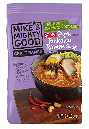 Mike's Mighty Good Craft Ramen Spicy Pork Tonkotsu Soup, 2.4 Ounce Pillow Pack (7 Count) Non-GMO, Made w/Steamed Organic Noodles Made From Scratch, Optional Organic Oil Packet Included, Palm ()