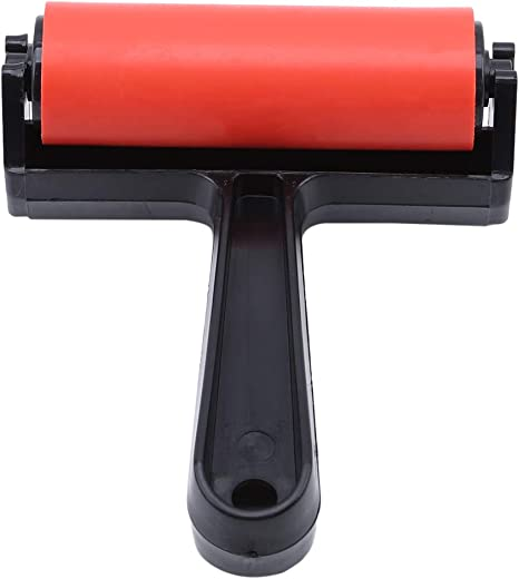 Green EXCEART 10cm Rubber Roller Brayer Soft Rubber Applicator Paint Brush Slab Roller for Arts Crafts Ink Printmaking Block Stamping Printing Applying Wallpaper