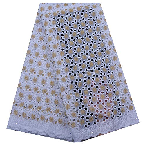 KALOOKDA Nigerian African Dry Lace Fabric Eyelet Swiss Voile Lace in Switzerland Party Dress for Party,Wedding (Color : Light Yellow and White, Size : 5 Yards) (High Quality Swiss Voile Lace From Switzerland)