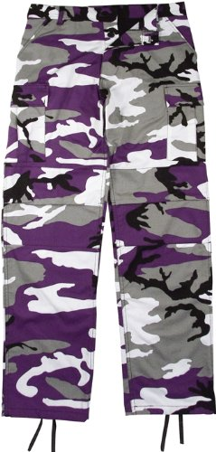 Camouflage Military BDU Pants, Army Cargo Fatigues (Purple Camouflage, Size 2X-Large)