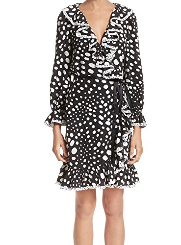 Marc Jacobs Wrap - Marc Jacobs Women's Polka Dot Ruffle Silk Wrap Dress Black 0
