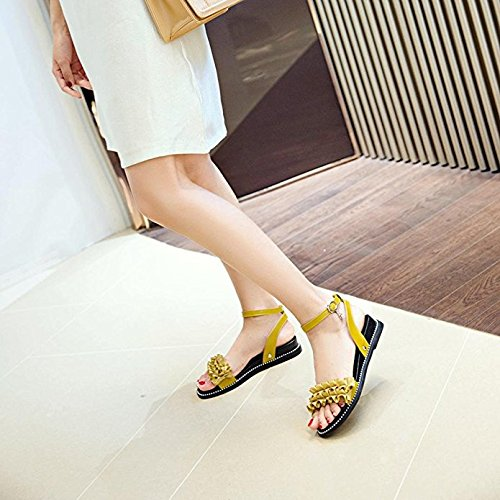 giallo Fashion Weekendy Flower tacco toe Peep Solid per Hasp sandali pendenza donne fqpwCqRxZ