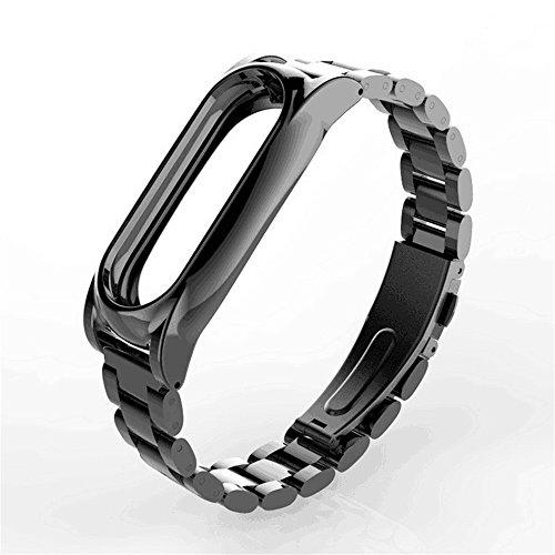 Memela(TM) New Fashion Xiaomi Mi Band 2 Magnet Stainless Steel Luxury Wrist Strap Metal Wristband (Black)