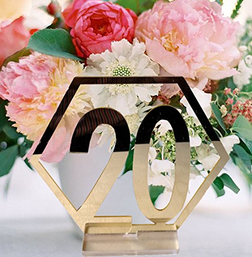 (Fashionclubs Table Numbers, 1-20 Wedding Acrylic Table Numbers with Holder Base Party Card Table Holder,Hexagon Shape,Perfect for Wedding Reception and Decoration (Gold))
